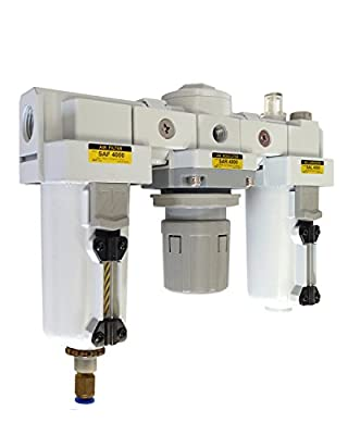 "PneumaticPlus SAU4000M-N04DG-MEP Three-Unit Combo Compressed Air Filter/Regulator/Lubricator FRL Air Preparation Unit 1/2"" NPT - Auto Drain, Metal Bowl, Relieving Type, 10 Micron, With 0-150 PSI Gauge"