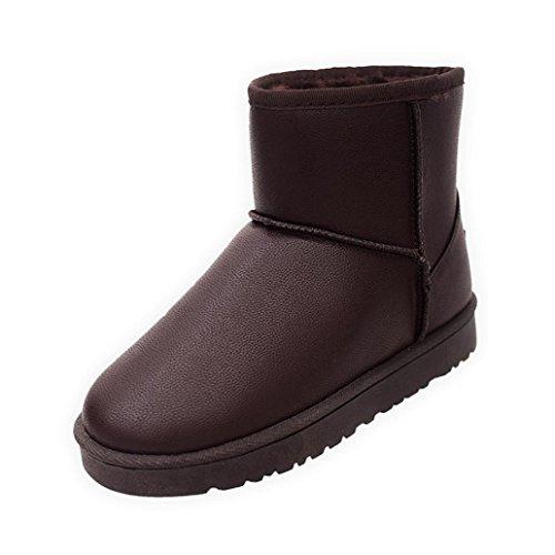 Chaussures femme, Kolylong 2016 Hiver Cuir artificiel Imperméables Visage Fourrure d'hiver doublé chaud Bottes plates cheville neige Chaussures Chaussures de coton