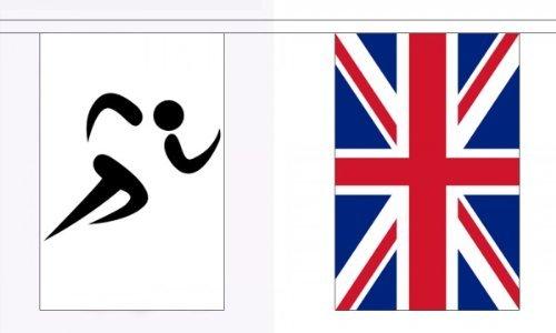 """9 m x 30 cm (22,86"""") (9 (6 15,24 cm), motivo: bandiera Union Jack & attività sportive 100% poliestere, materiale ideale per feste con bandierine, decorazione per strada House Pub mazze scuole Commonwealth giochi olimpici"""