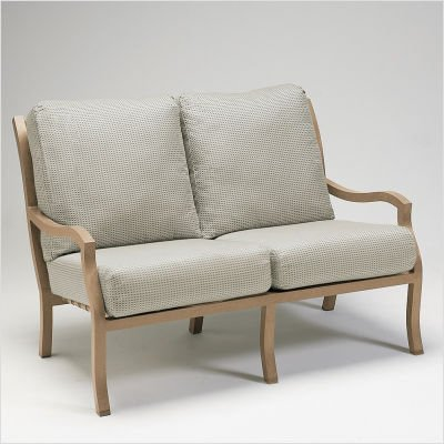 Buy Low Price Woodard Carson Loveseat with Cushions Finish: Hammered Pewter, Fabric: Abacos – Barley (5P0419+-52-48A)