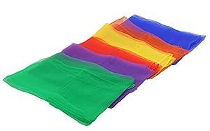 Aipleril Square Hemmed Juggling Dance Scarves for Kids Magic Tricks Rhythm Band Scarves 6 Colors 1 Dozen