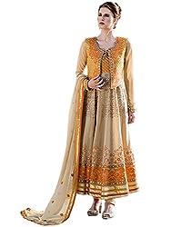 Orange Fab Orange Resham Work Viscose Stylish Anarkali Dress Material With Waistcoat