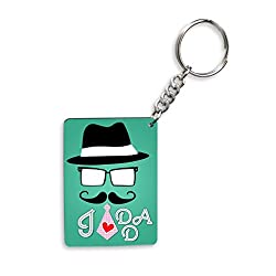 I Love Dad With Cap And Mustaches Gifts For Father's Day Rectangle Wooden Keychain