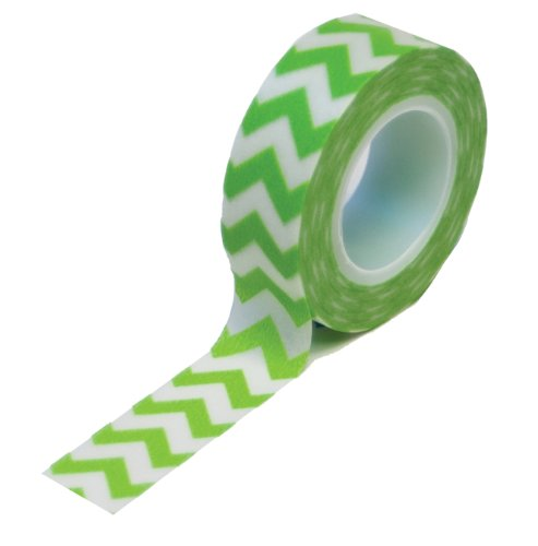 Dress My Cupcake Washi Decorative Tape for Gifts/Favors, Green Chevron - 1