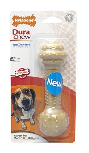 Nylabone Corp -Dura Chew Barbell Dog Chew- Peanut Butter Wol