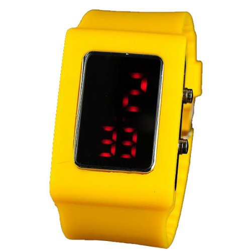 BestOfferBuy Unisex Casual Digital LED Watch Wide Silicone Band Yellow