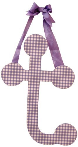 "My Baby Sam 9"" Lavender Gingham Hanging Letter, T - 1"