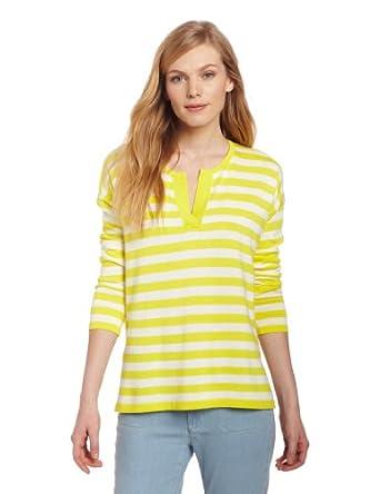 Jones New York Women's Long Sleeve Split Neck Pullover Sweater, Lemon Combo,Small