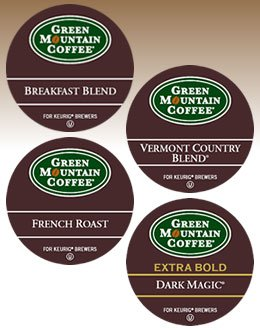 Green Mountain Regular Variety Sampler ------------ 2 Boxes Of 22 K-Cups ------- Inculding Breakfast Blend, French Roast, Vermont Country Blend & Dark Magic
