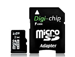 Digi-Chip HIGH SPEED 32GB UHS-1 CLASS 10 Micro-SD Memory Card for Samsung Galaxy A8, Galaxy V Plus, Galaxy Core Prime, Galaxy A3 and Xcove 3 Cell Phones