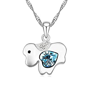 Heart Style Aquamarine Austrian Crystal Lovely Dog Crystal Pendant Necklace