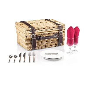 Picnic Time Champion Red Picnic Basket with Deluxe Serving Set, Service for 2 by Picnic Time