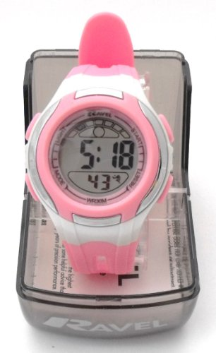 Girls/Kids Digital LCD Sports Watch - Gift Boxed - Multi Functional- 14-20cm Strap - 3ATM - Pink 2g
