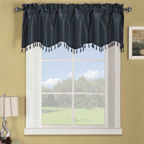 Luxury Soho Navy Straight Valance, Solid Pattern, 70X17 Inches, By Royal Hotel
