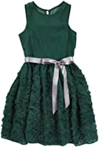 Blush by Us Angels Girls 7-16 Lace Detail Crinkle Dress, Evergreen, 16
