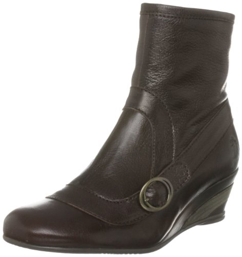 Fly London Women's Band Leather Dark Brown Wedges Boots P141749012 3 UK