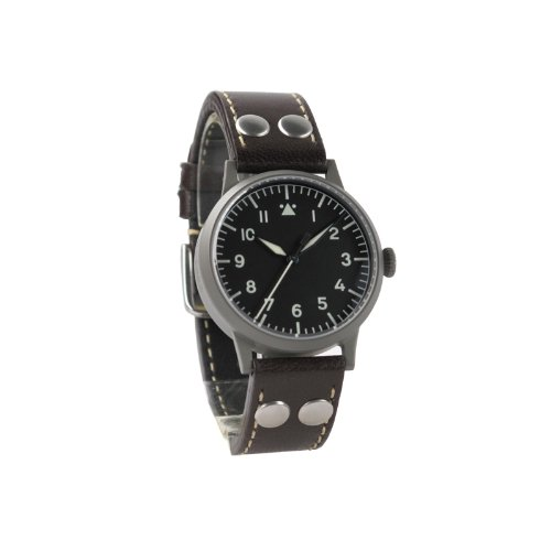 Laco 1925 Women's Mechanical Watch with Black Dial Analogue Display and Brown Leather Strap 861736