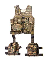 Ultimate Arms Gear Tactical Assault Scenario Marpat Woodland Digital Camo Camouflage MOLLE 10 Piece Ambidextrous Complete Kit Set Deluxe Modular Web Vest w/ Hydration Bladder Pocket + 2 Open-Top Double Mag Ammo Pouches + Pistol Mags + Cell Phone Radio Pouch + Adjustable Duty Belt + Medical Utility Pouch + Dropleg Pistol Ambi Holster + Multi Purpose Dump Drop Leg Platform Rig