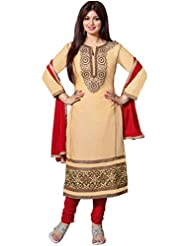 Manvaa Awesome Light Brown Glaze Cotton Salwar Kameez With Red Chiffon Dupatta