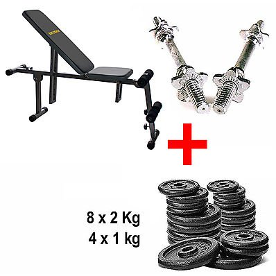 Kit Panca Bench Trainer + Manubri + Pesi