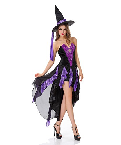 Candygirl Womens Sexy Witch Adult Costume with Accessory