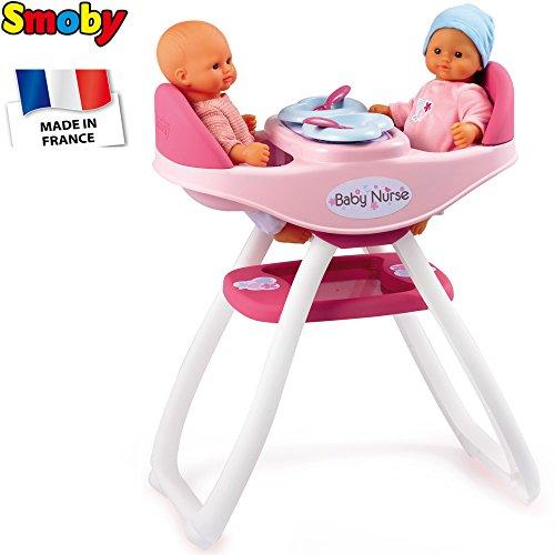 Smoby 2-in-1 Puppenholchstuhl, 45x58 cm, passend für Puppen bis 42 cm || Baby Puppe Stuhl Puppenstuhl Hochstuhl Babyhochstuhl