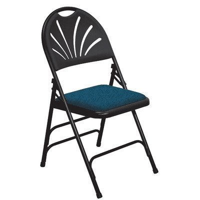 1014 National Public Seating 1000 Series Blue/Black Steel Frame Premium Fabric Upholstered Seat Folding Chair
