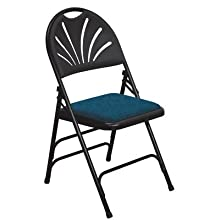 National Public Seating 1000 Series Steel Frame Premium Fabric Upholstered Seat Fan Back Folding Chair with Triple Brace, 480 lbs Capacity, Blue/Black (Carton of 4)