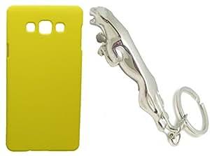 XUWAP Hard Case Cover With Jaguar Shape Matallic KeyChain For Samsung Galaxy On7 - Yellow