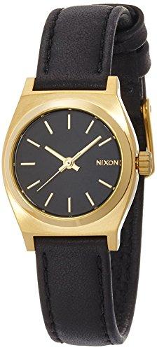[ニクソン]NIXON SMALL TIME TELLER LEATHER: BLACK/GOLD NA509010-00 レディース 【正規輸入品】