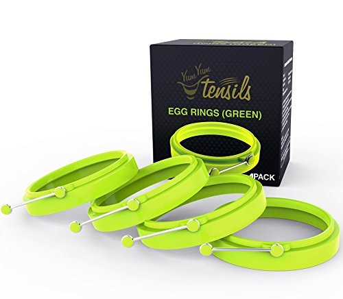 Silicone Egg Ring Set of 4 Premium Green Egg Rings by YumYum Utensils. Save Time and Create Professional Looking Fried Eggs and Pancakes with FDA Approved Silicone Molds.