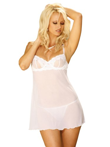 Plus Size Bridal Lingerie White Sheer Nightdown Underwire Cups online