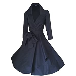 Look For The Stars Women's 3/4 Length Sleeves 50's Style Rockabilly Dress (14, midnight blue)