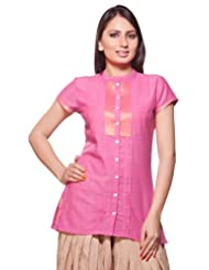 Akkriti Womens Indian Ethnic Kurta Tunic Front Button with Pleats