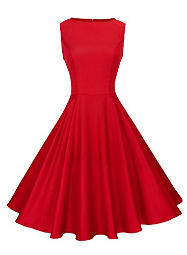 Anni Coco Women's Classic 1950s Vintage Hepburn Dresses Red Small