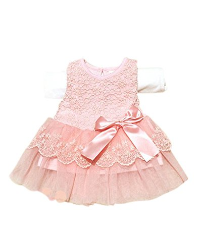 Molil Child Kid Girl Tutu Skirt Big Bow Princess Party Wedding Lace Dress Flower Pink 6-12M