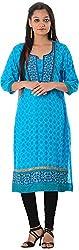 Kaashvi Creations Women's Cotton Straight Kurta (99901000000015-M, Blue, Medium)