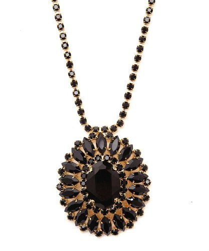 Crystal Bib Pendant Necklace in Black / Crystal Chain Fashion Jewellery Necklace