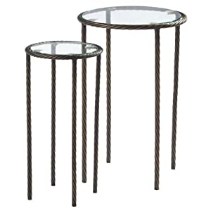 Set of 2 Round Glass Silver Side Tables with Twisting Legs