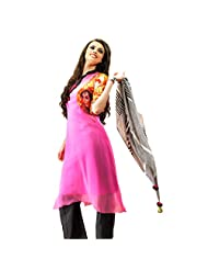 Fancy Fashionable Pink Colored Digital Printed Faux Georgette Kurti By Triveni