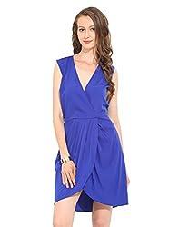 Blue Polyester Skater Dress Large
