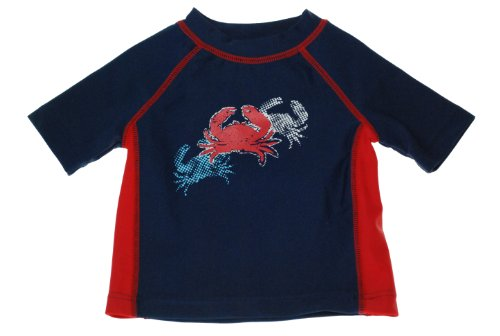 Flapdoodles Baby-boys Infant Cool Crab Rashguard Shirt, Navy, 12 Months