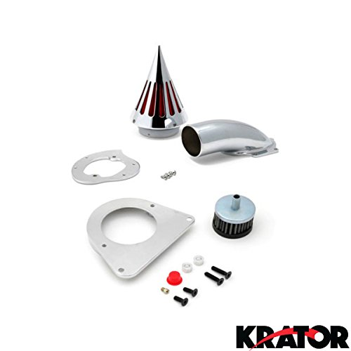 Krator Kawasaki Vulcan 800 Cruiser Chrome Billet Aluminum Cone Spike Air Cleaner Kit Intake Filter Motorcycle 1995+