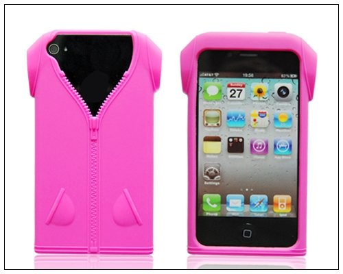 Cool T Shirts Clothes Silicone Case Cover for Apple iPhone 4 4G 4s AT&T and Verizon Peach