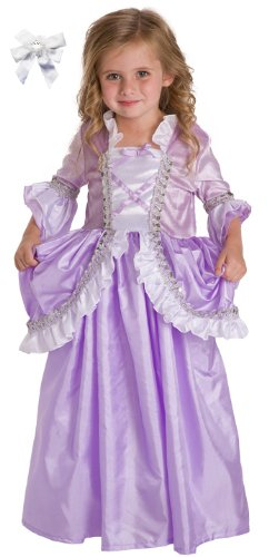 Artículo 2 Bundle: Little Purple aventuras en blanco y Rapunzel Princess Dress Up vestuario + pelo del arco de las niñas de 5-7-lavable a máquina