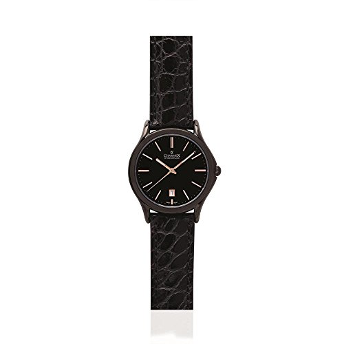 Charmex Madison Ave 2720 40mm Stainless Steel Case Black Calfskin Synthetic Sapphire Men's Watch