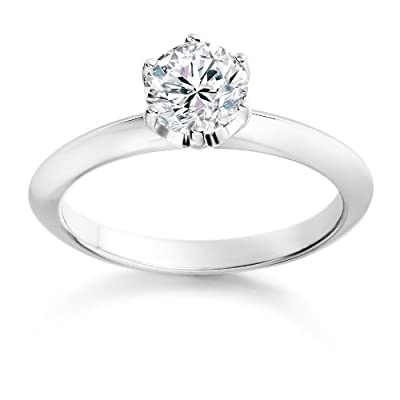 1/4 Carat G/VS1 Round Brilliant Certified Diamond Solitaire Engagement Ring in 18k White Gold