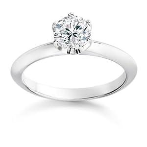 Diamond Manufacturers - Bague de fiancailles avec diamant Rond Femme - Or blanc 750/1000 (18 cts) - Diamant 0.30 ct