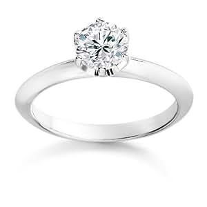 Diamond Manufacturers - Bague de fiancailles avec diamant Rond Femme - Or blanc 750/1000 (18 cts) - Diamant 0.26 ct