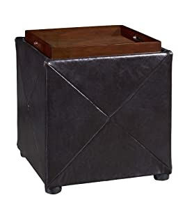 Modus Furniture Upholstered Milano Storage Cube, Chocolate Leather